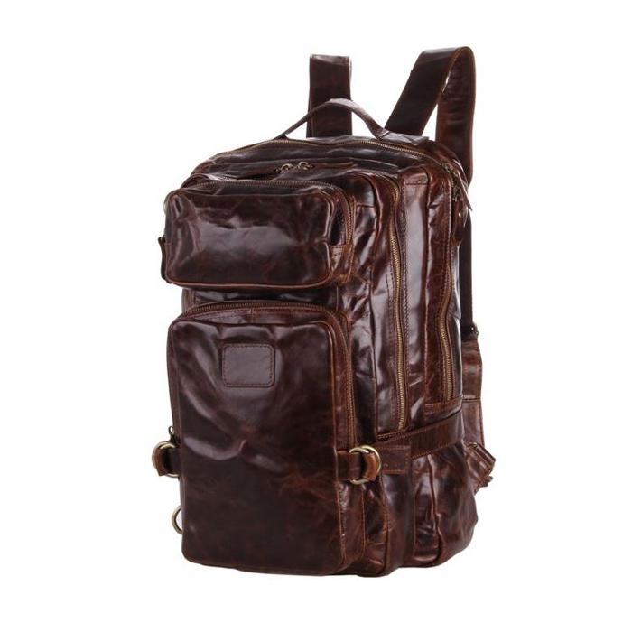 GT-7048 กระเป๋าเป้หนังแท้ หนังออยล์ สีน้ำตาลเข้ม