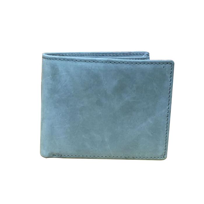 GT-1621A กระเป๋าสตางค์ผู้ชาย หนังแท้ฟอกด้าน สีเทาอมฟ้า