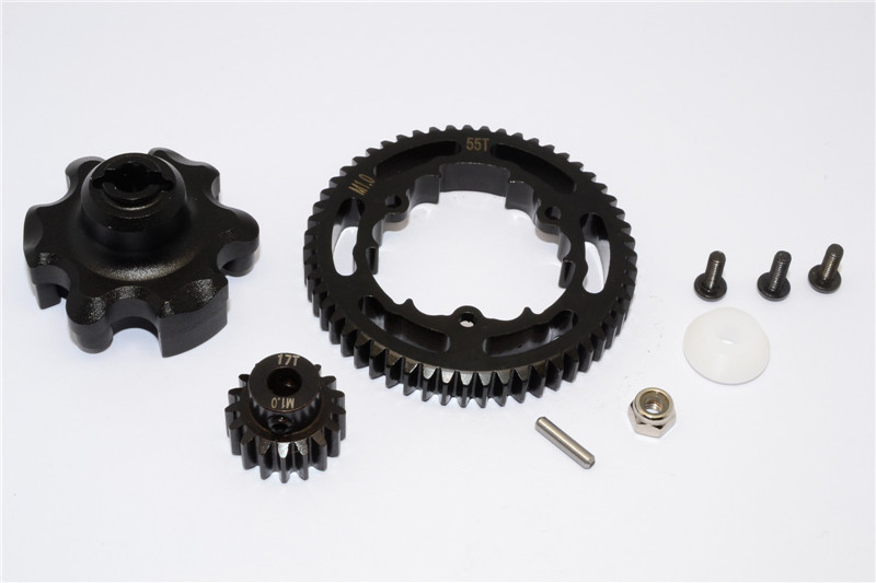 ALUMINIUM GEAR ADAPTER+STEEL SPUR GEAR 55T+MOTOR GEAR 17T - 1SET