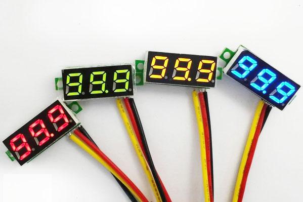 ดิจิตอล โวลต์มิเตอร์ 0 ถึง100 โวลต์ จอขนาด 0.28 นิ้ว สีแดง Mini 3 Digital LED DC 0 -100 Volt
