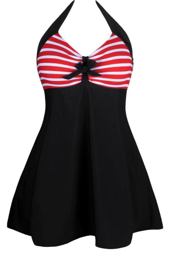 ชุดว่ายน้ำคนอ้วน พร้อมส่ง :ชุดว่ายน้ำไซส์ใหญ่สีดำผูกคอแต่งลายทางสีแดงขาวผูกโบว์สีดำ มีกางเกงขาสั้นใส่ด้านในน่ารักมากๆจ้า:รอบอก44-52นิ้ว เอว40-50นิ้ว สะโพก46-58นิ้วจ้า