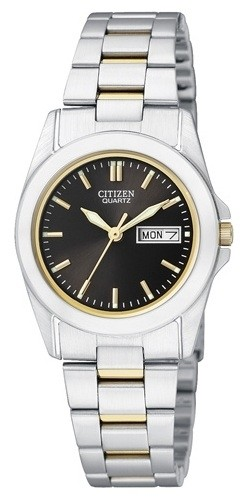 นาฬิกาผู้หญิง Citizen รุ่น EQ0564-59E, Quartz Elegant Day Date Stainless Steel Dual Tone