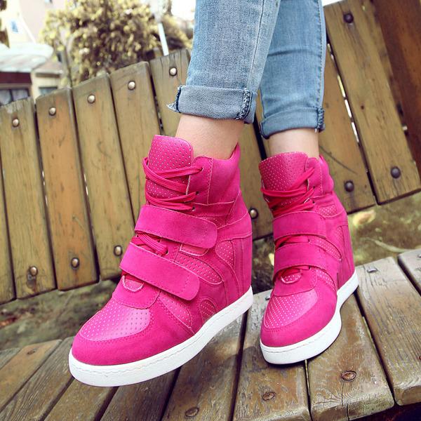 รองเท้าผ้าใบแฟชั่นเกาหลีเสริมส้นสูง5-7cm
