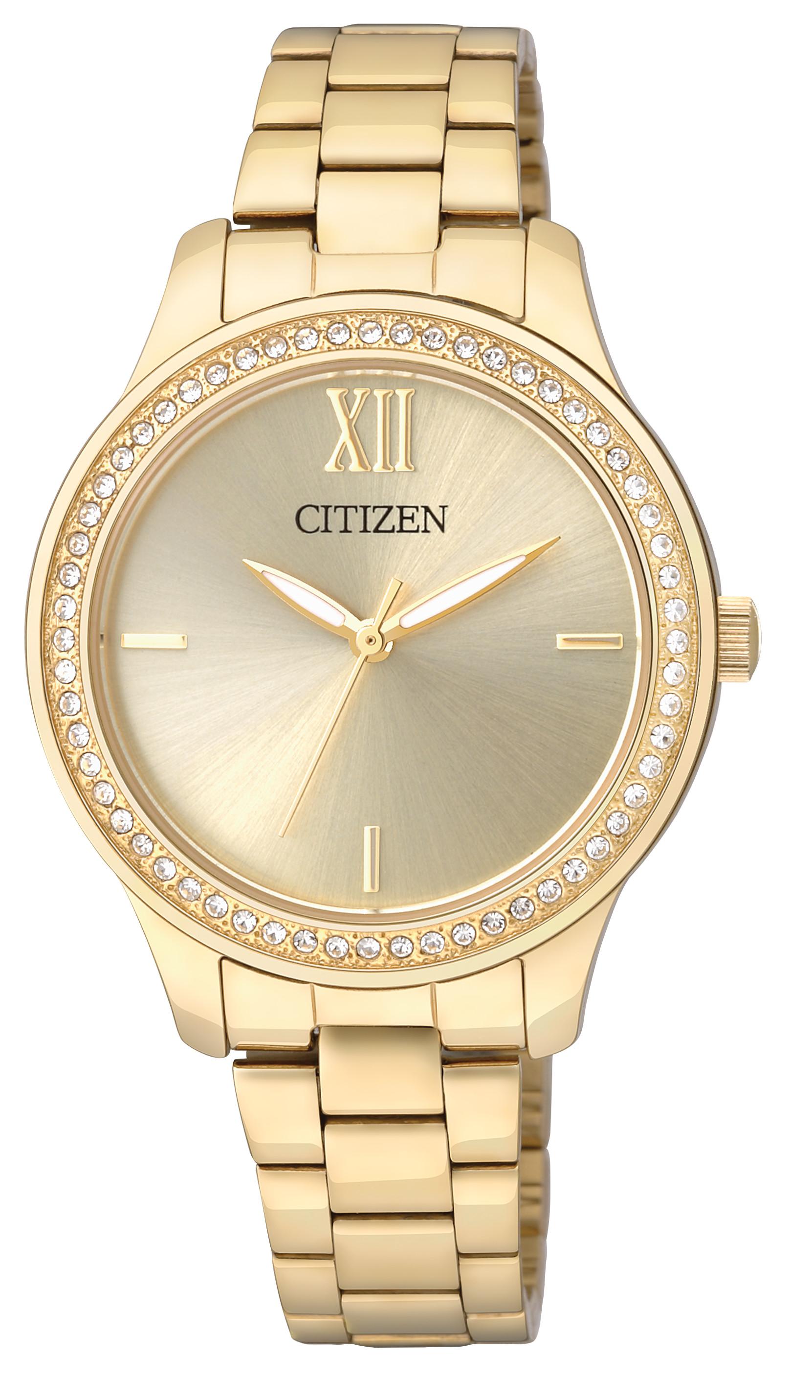 นาฬิกาผู้หญิง Citizen Eco-Drive รุ่น EL3088-59P, Gold Tone