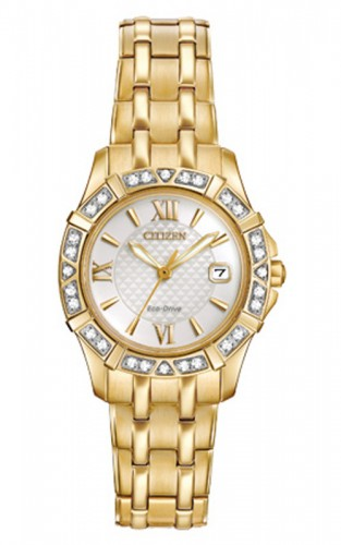 นาฬิกาผู้หญิง Citizen รุ่น EW2362-55A, Diamond Stainless Steel Gold