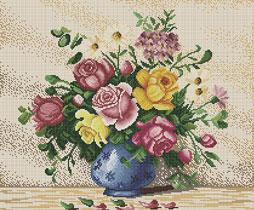 ลาย DMC แจกันดอกไม้