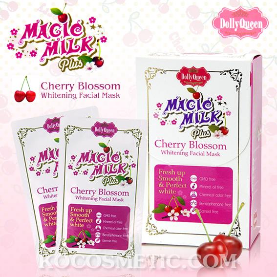 คอลลี่ควีน เมจิกมิลค์ พลัสเชอร์รี่ บอสซั่ม ไวท์เทนนิ่ง เฟเชียล มาส์ก / Dolly Queen Magic Milk Plus Cherry Blossom Whitening Facial Mask