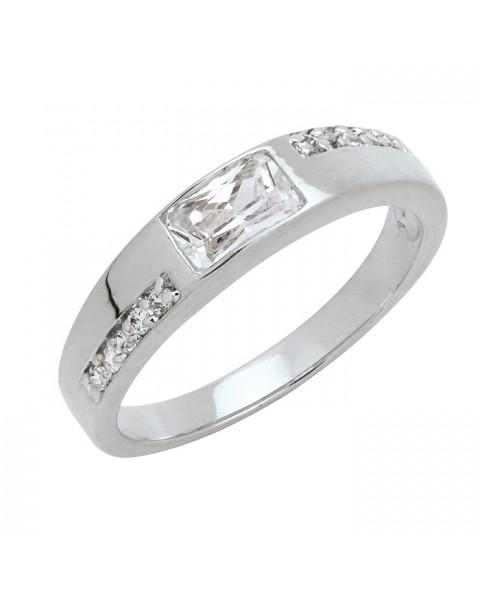 แหวนประดับเพชรสี่เหลี่ยมฝังหุ้มและฝังจิกไข่ปลา ชุบทองคำขาวแท้