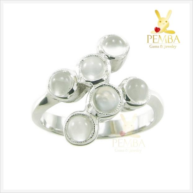 แหวนมูนสโตนแท้ สีขาวนวล ดีไซส์สุดเก๋