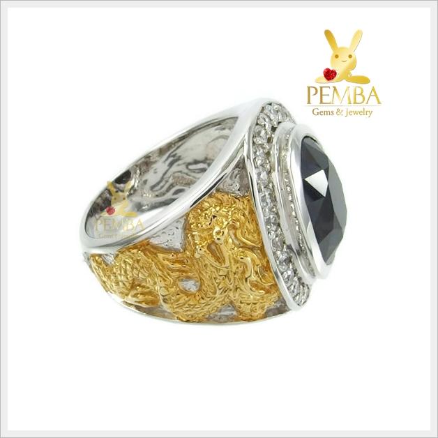 แหวนนิลแท้ เงินแท้ ชุบทองคำขาว