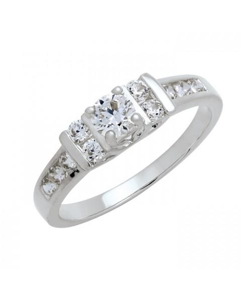 แหวนประดับเพชรฝังหนามเตยและฝังสอด หุ้มทองคำขาวแท้