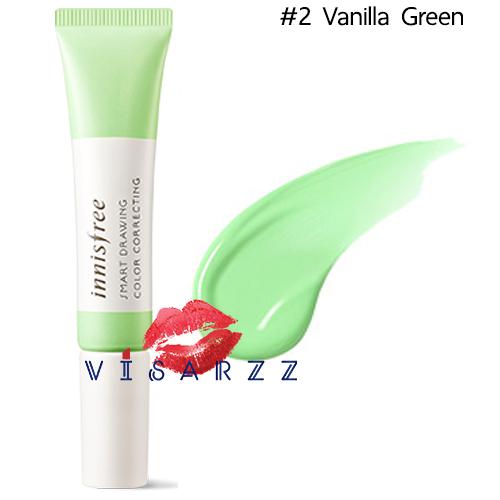 (#2 Vanilla Green) Innisfree Smart Drawing Color Correcting 12mL เบสช่วยปรับสภาพสีผิวที่หมองคล้ำในจุดต่างๆ ให้สม่ำเสมอ สว่าง กระจ่างใสมากขึ้น เนื้อบางเบา ติดทนนาน มาในรูปแบบบรัชเพนแปรงปากกาใช้งานง่าย