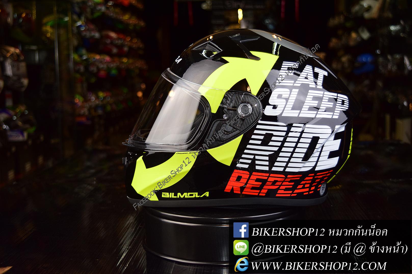 หมวกกันน็อคBilmola Veloce สี Eat Sleep Ride Black