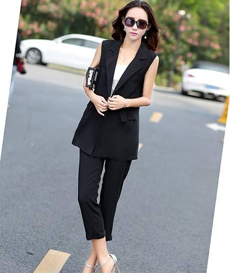 ชุดทำงานสีดำเรียบหรู ลุคสาวเท่ เซตเสื้อคลุมสูทแขนกุด กางเกงขนยาว M L XL