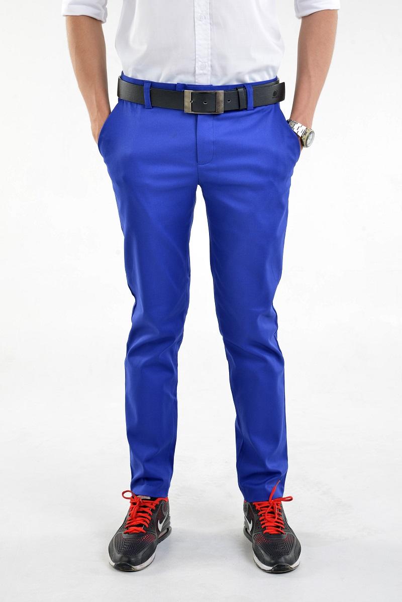 กางเกงสแล็คผู้ชายสีน้ำเงิน ผ้ายืด ทรงกระบอกเล็ก