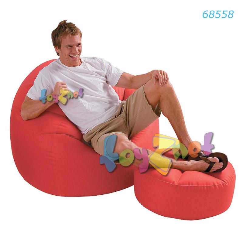Intex เก้าอี้เป่าลมบีนเลสแบ๊ก พร้อมที่วางเท้า (สีแดง) รุ่น 68558