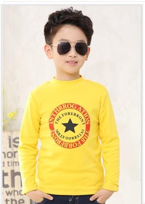 C116-43 เสื้อกันหนาวเด็กชายสีเหลือง พิมพ์ลายสวย ผ้ามีขนนุ่มๆเพิ่มความอบอุ่น สวมใส่สบาย size 120 พร้อมส่ง