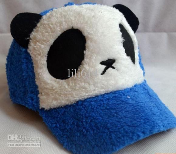 พร้อมส่ง-หมวกหมีแพนด้าขนปุย สีน้ำเงิน