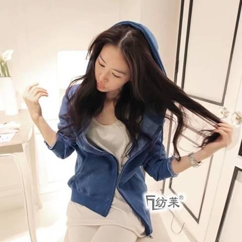 เสื้อคลุม แขนยาว กระเป๋าหน้า ซิปหน้า มีฮูด สีน้ำเงิน