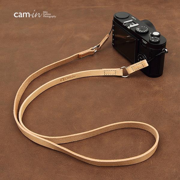 สายคล้องกล้องหนังแท้ cam-in Simple Leather สายหนังแท้เส้นเล็ก ร้อยรูเล็กได้ สีครีม