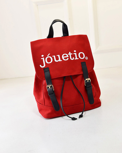 พร้อมส่ง-กระเป๋าเป้ สะพายหลังสไตล์ญี่ปุ่น สกรีนJouetio สีแดง