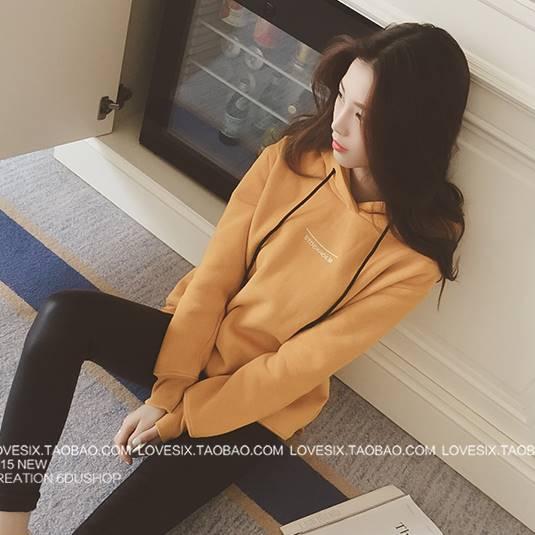เสื้อแฟชั่น มีฮูด บุกันหนาว แขนยาว ผ้าฝ้าย ลาย Autumn สีเหลือง