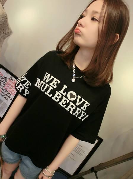 เสื้อแฟชั่น คอกลม แขนสั้น ลาย We Love Mulberry สีดำ