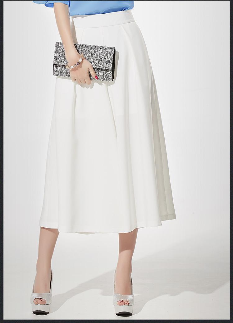 กางเกงขากว้างสีขาว ผ้าชีฟอง ทรงสวย ใส่สบาย พร้อมส่ง