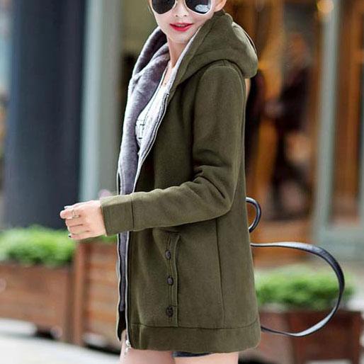 เสื้อกันหนาวผู้หญิงแฟชั่นเกาหลี สีเขียวทหาร แจ็คเก็ตมีฮู้ด ซับบุขนสัตว์
