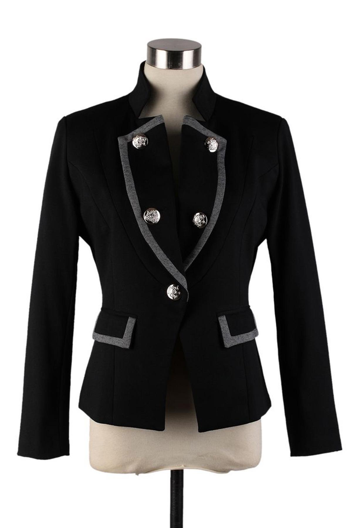 เสื้อสูทแฟชั่น เสื้อสูทผู้หญิง สีดำ แขนยาว แต่งขลิบสีเทา