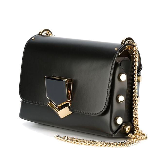 กระเป๋าสะพายข้างสีดำ ทรงสี่เหลี่ยม สายโซ่สีทอง
