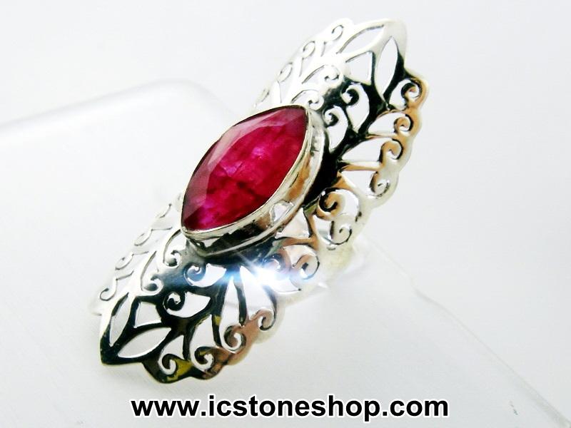 ▽ทับทิม Indian Ruby- แหวนเงินแท้ 925 (แหวนเบอร์ : 57 ,5.8g)