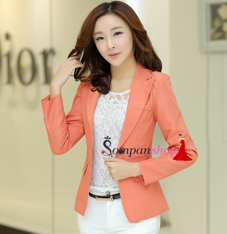 เสื้อสูททำงานสีส้ม คอปก แขนยาว ผ้าโพลีเอสเตอร์ ลุคสาวทำงาน เรียบร้อย เป็นทางการ