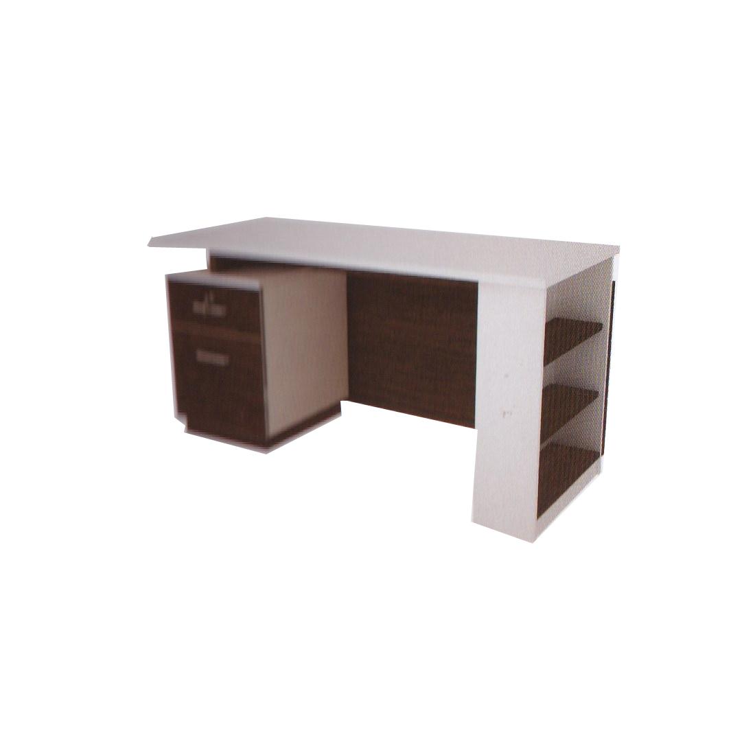 โต๊ะทำงาน 1.40 ม. 2 ลิ้นชัก+กล่องชั้นวาง TDK-P1421