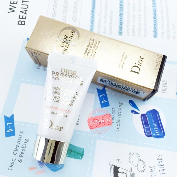 Dior Prestige White Collection Satin Brightening UV Base Blemish Balm SPF50-PA+++ 5 ml. สีเบส ปรับสีผิวเรียบเนียน สม่ำเสมอ สามารถใช้เป็นรองพื้นได้เลย