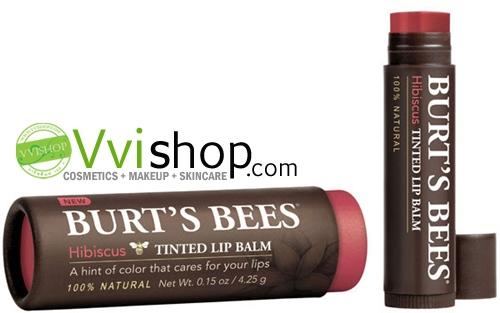 BURT'S BEES Tinted Lip Balm 4.25 g # Hibiscus ลิปบาล์ม ที่พร้อมแต่งเติมสีสันให้ปากมีสีระเรื่อๆ สุขภาพดี
