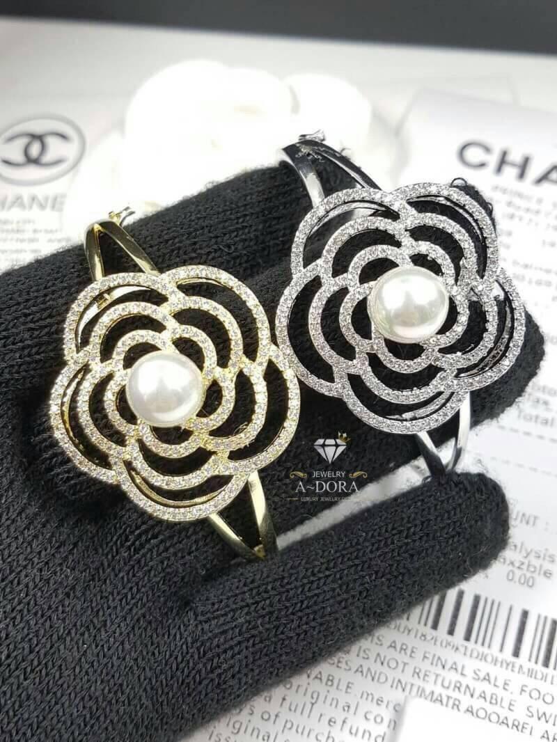 *Diamond with Pearl Chanel Bangle มีปั้มLogo สกีนสวย กำไลเพชรCZ ฝังล้วน เกรดเพชร8A