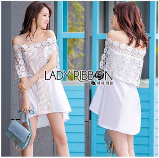 Lady Ribbon Online ขายส่งเสื้อผ้าออนไลน์เลดี้ริบบอน LR20010816 &#x1F380 Lady Ribbon's Made &#x1F380 Lady Nicole Sweet Feminine Off-Shoulder Lace and Polyester Dress