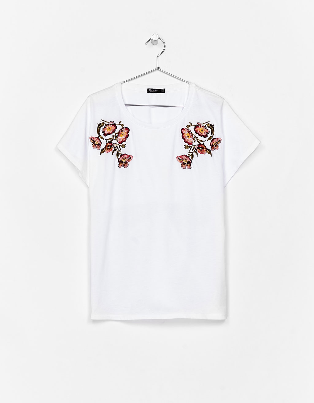 Bershka Floral embroidered T-shirt