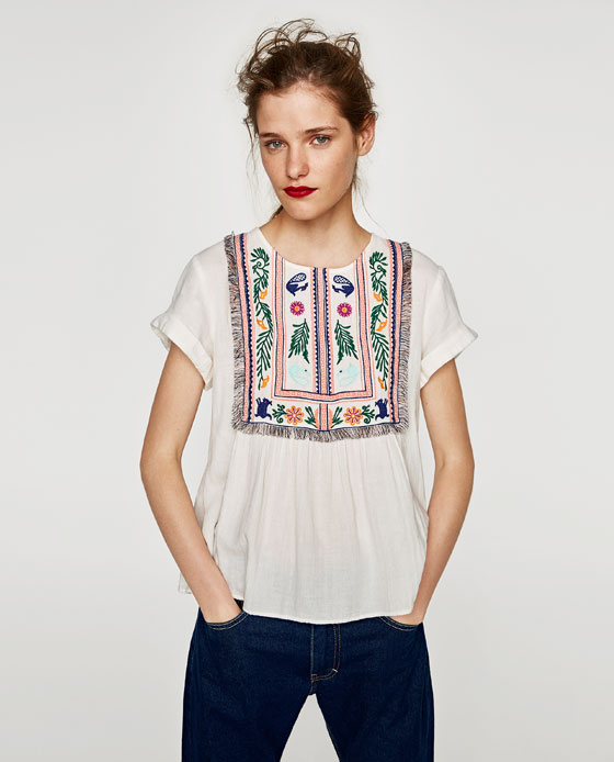 ZARA TOP WITH EMBROIDERED LEAVES