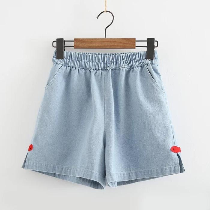 กางเกงยีนส์ขาสั้นเอวยืด (มีให้เลือก 2 สี 2 ไซส์)