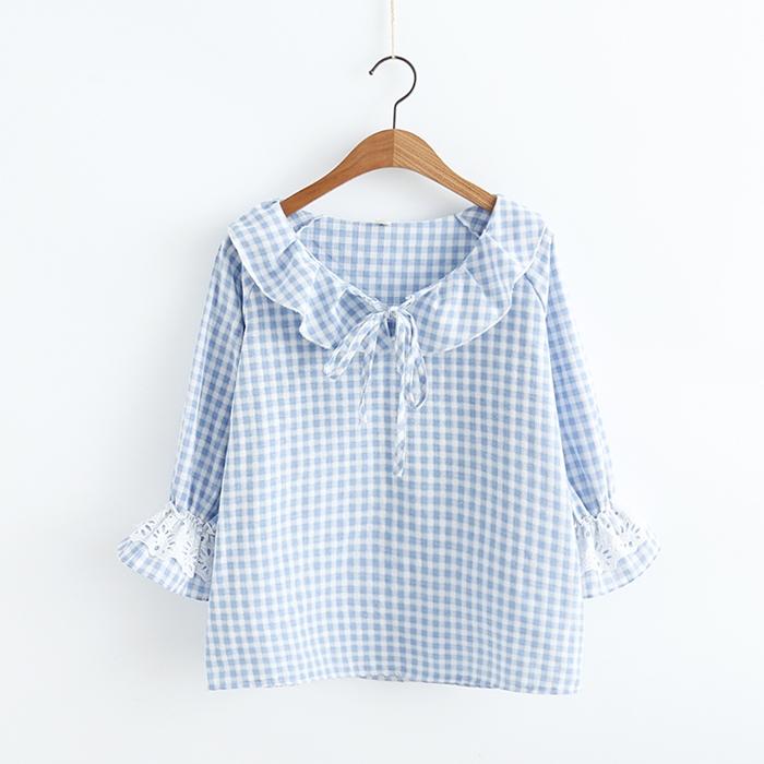 เสื้อเบลาส์ลายสก๊อตแต่งปก (มีให้เลือก 3 สี)