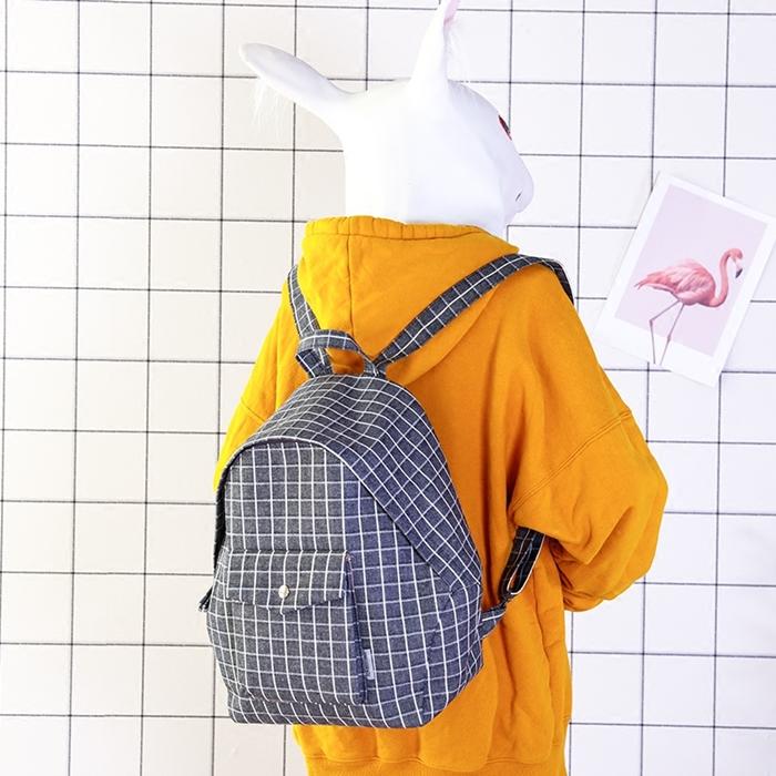 กระเป๋าเป้ผ้า Canvas ลายตาราง (มีให้เลือก 4 สี)