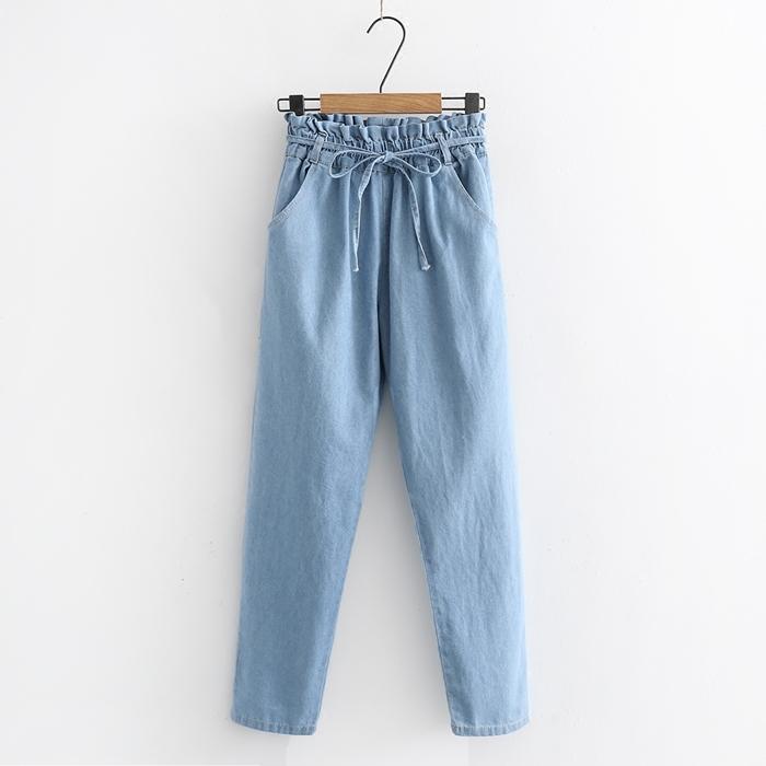 กางเกงยีนส์ขายาวเอวยืด (มีให้เลือก 2 สี 2 ไซส์)
