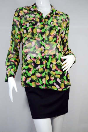 HARUKA เสื้อเชิ๊ตแขนยาว โทนสีดำเขียวลายสัปปะรด ผ้าชีฟอง