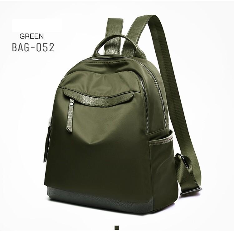 กระเป๋าเป้ผู้หญิงผ้าไนล่อนอย่างดี กันน้ำได้ BAG-052-เขียว (สีเขียว)