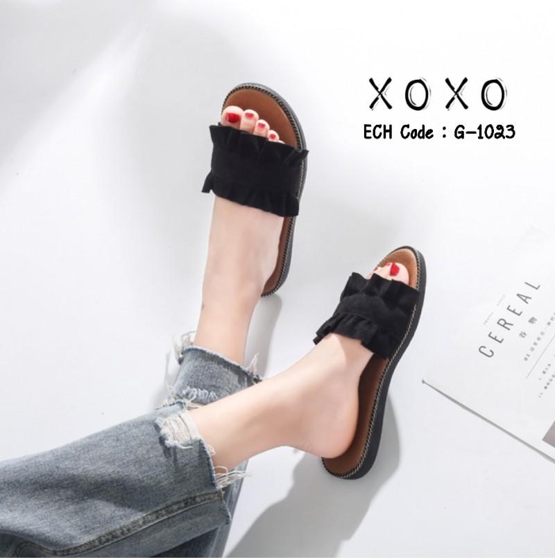 พร้อมส่ง รองเท้าแตะผู้หญิง หน้าขยัก G-1023-BLK [สีดำ]