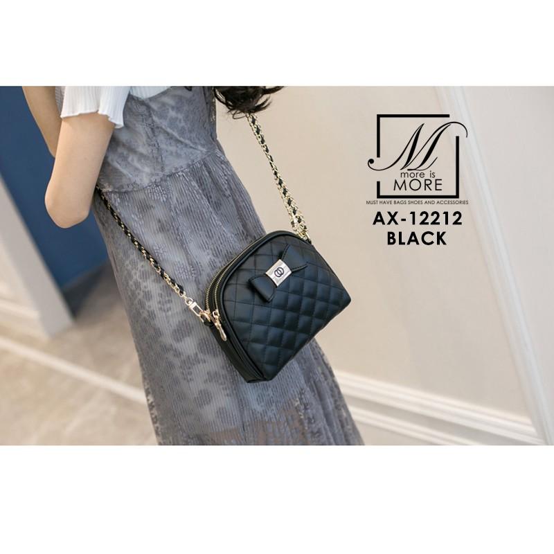 กระเป๋าสะพายกระเป๋าถือ แฟชั่นนำเข้าสุดน่ารัก AX-12212-BLK (สีดำ)