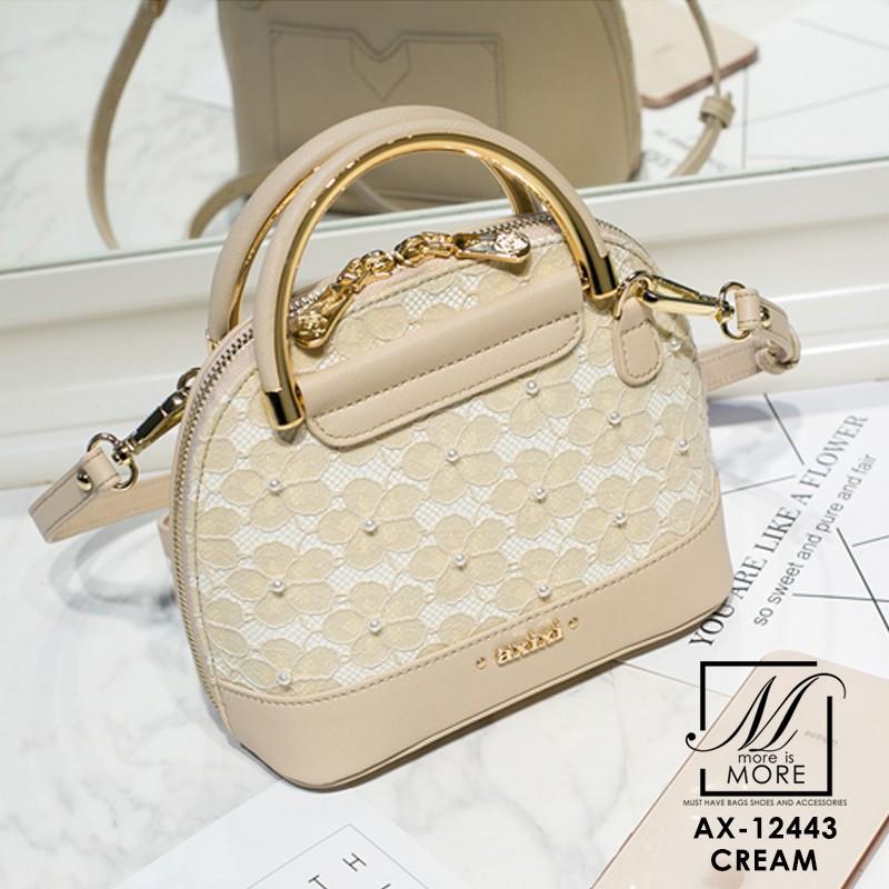 กระเป๋าสะพายกระเป๋าถือ แฟชั่นนำเข้าสไตล์คุณหนู แบรนด์ axixi แท้ AX-12443-CRM (สีครีม)
