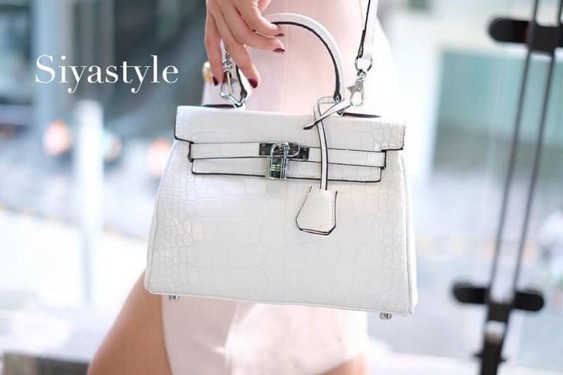 พร้อมส่ง กระเป๋าสะพายข้างผู้หญิง Kelly 25 CM Crocodile [สีขาว]